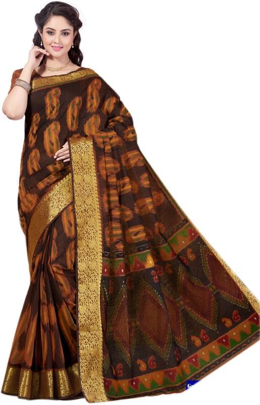 Aarti Apparels Printed Gadwal Cotton Saree(Brown)