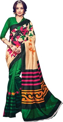 Saara Floral Print, Solid, Printed Bhagalpuri Silk Saree(Green) at flipkart