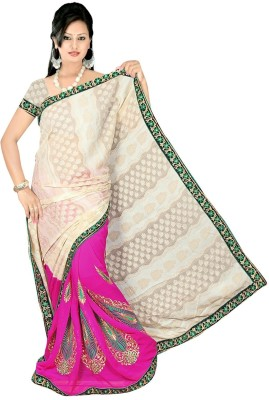 Chinco Self Design Bollywood Jacquard, Georgette Sari