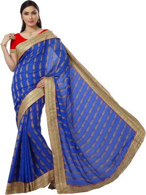 Roop Kashish Embriodered Bollywood Crepe, Jacquard Sari
