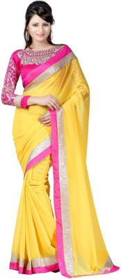 Nidhik Plain Bollywood Synthetic Chiffon Sari