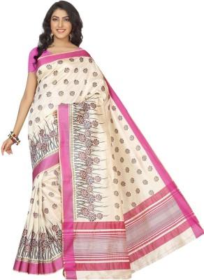 Rani Saahiba Printed Chanderi Art Silk Sari(Pink)