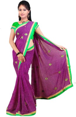 Chhaya Striped Bandhej Synthetic Sari