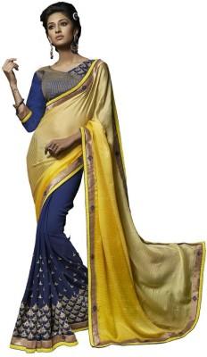 Amayra Fashions Solid, Embellished, Embriodered Fashion Georgette Sari