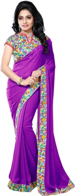 Vruticreation Self Design Bollywood Handloom Georgette Sari