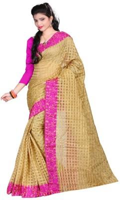 The Designer House Solid, Self Design, Checkered Fashion Cotton, Net Sari