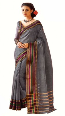 NSMedia Striped Fashion Silk Cotton Blend Sari