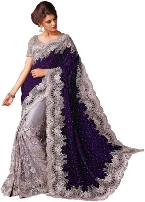 Abhaysri Fashion Embriodered Fashion Velvet, Net Sari