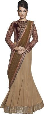 Go Traditional Embriodered Lehenga Saree Sequined Fabric, Dupion Silk Sari