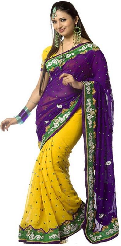 onlinefayda Embroidered Daily Wear Chiffon Saree(Yellow)