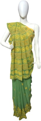 Kaashvi Self Design Lucknow Chikankari Handloom Chiffon Sari