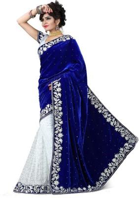 Ganghs Solid, Self Design Fashion Velvet, Net Sari