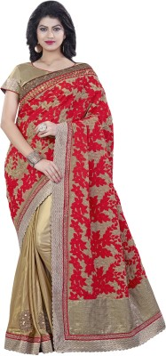 Mahotsav Embroidered Fashion Georgette Saree(Gold) at flipkart