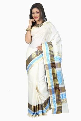 B3Fashion Woven Mundum Neriyathum Handloom Cotton Sari