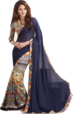 Amayra Fashions Printed, Solid, Embellished Fashion Silk, Crepe Sari