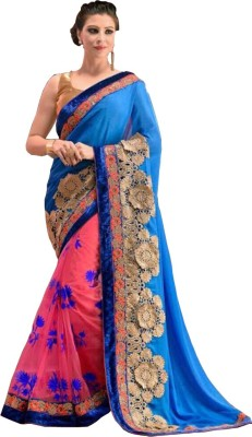 Nairiti Fashions Embriodered Fashion Georgette, Net Sari