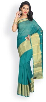 Pavechas Solid Banarasi Cotton, Silk Saree(Blue) at flipkart