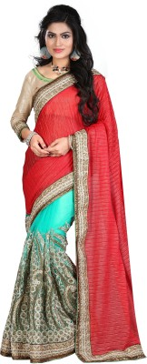 DIVINE FASHION STUDIO Embriodered Fashion Georgette Sari