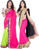 JENNY Solid Bollywood Georgette Saree (P...