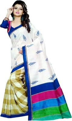 Aara Textiles Floral Print, Checkered Fashion Synthetic Fabric Sari