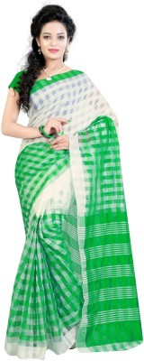 Needle Impression Printed Assam Silk Handloom Silk Sari(Green, White)