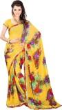 Yehii Floral Print Fashion Georgette Sar...