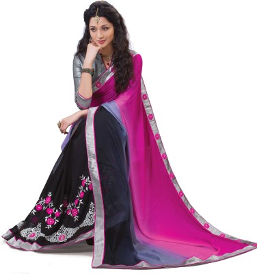 Laajjo Embriodered Fashion Georgette, Jacquard Sari