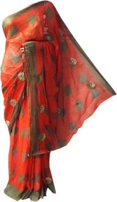 RAJASTHANI BANDEJ Embriodered Bandhani Synthetic Chiffon Sari