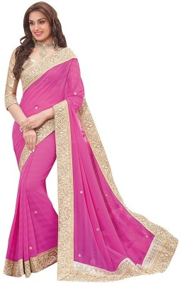 BORDABROTHERS Embriodered Fashion Georgette Sari