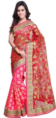 Colour Trendz Self Design Fashion Net Sari