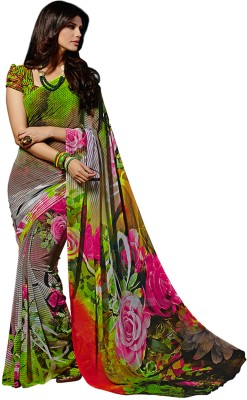 Crafts N Culture Floral Print Fashion Georgette Sari