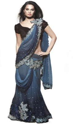 Swikriti Creations Embriodered Lehenga Saree Georgette Sari