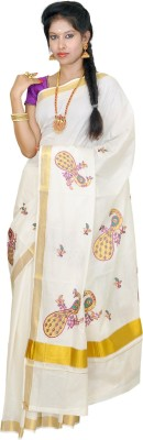 Thirumalai Textiles Solid, Self Design Balarampuram Handloom Cotton Sari