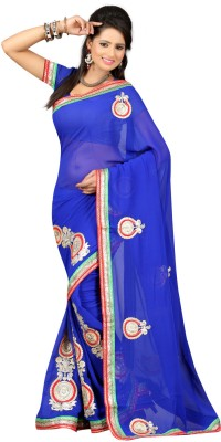 Ansu Fashion Self Design Fashion Georgette Saree(Blue) at flipkart