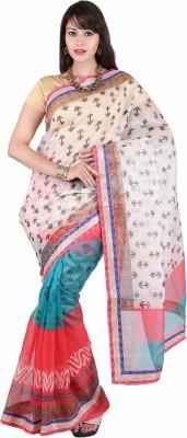 Tusk Printed Bhagalpuri Net Sari