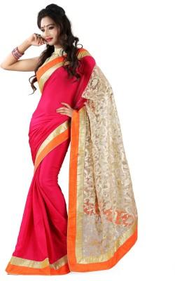 SJTrendz Self Design Bollywood Chiffon, Brocade Sari
