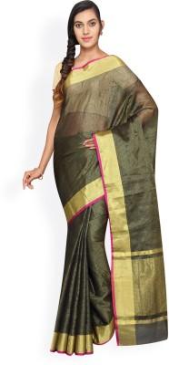 Pavechas Solid Banarasi Kota Tissue Saree(Black) at flipkart