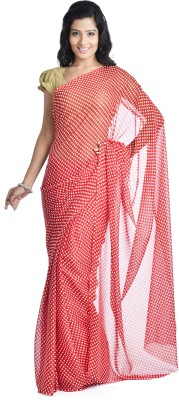 Aaditri Polka Print Daily Wear Chiffon Sari