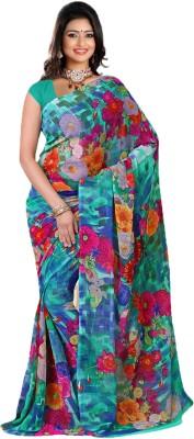 True Fashion Floral Print Fashion Pure Georgette Sari