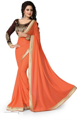 Indianbeauty Solid Bollywood Georgette Sari