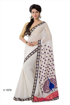 SASURAL Embriodered Banarasi Georgette Sari