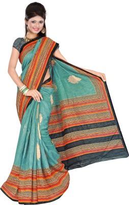 Prafful Solid, Striped Fashion Silk Sari