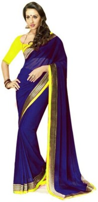 Awesome Fab Plain Bollywood Georgette Sari