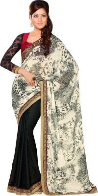 Queenbee Animal Print, Embriodered, Self Design Fashion Georgette Sari