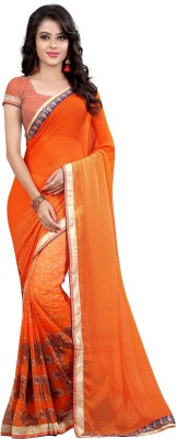 Arya Fashion Solid Bollywood Georgette Saree(Orange) at flipkart
