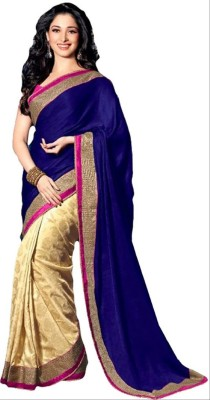 PerfectBlue Self Design Bollywood Handloom Chiffon Sari