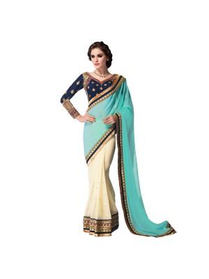 Fashion And Hub Embriodered Fashion Georgette Sari