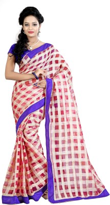 Needle Impression Checkered Daily Wear Silk Sari(Multicolor)