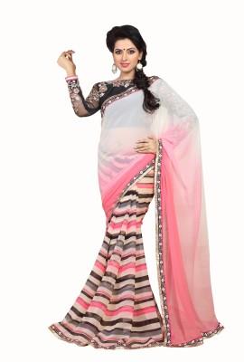 Crafts N Culture Solid Fashion Pure Chiffon Sari