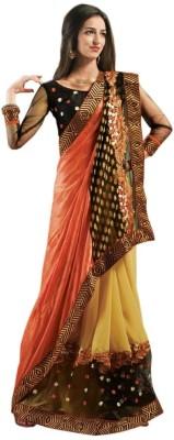 Admyrin Solid Fashion Net, Viscose, Jacquard Sari